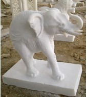 White Marble Simple Design Elephant Statue