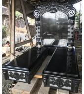 Double Ledger Black Granite Monument