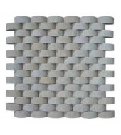 White Rounded Tiles Of Natural Stones Mosaic