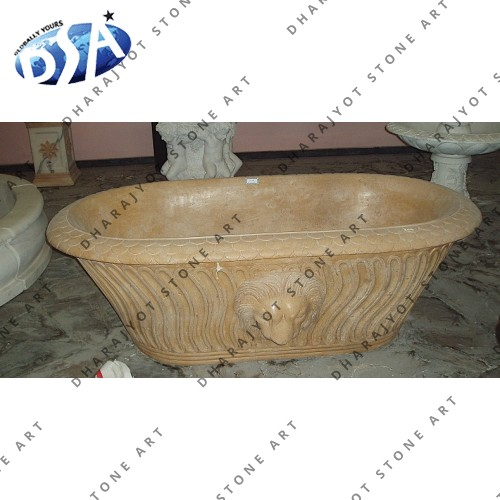 Carved Yellow Marble Bathtub