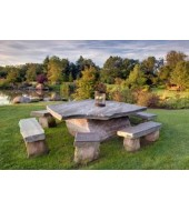 Brown Stone Bench