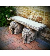 Carved Elephant Statue Legs Bench