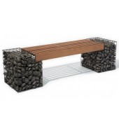 Brown Seating Bench With Pebbles Base