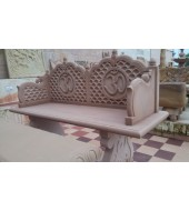 Backed Carved Marble Outdoor Seating Bench