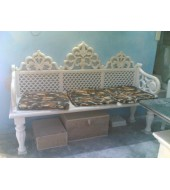 Curved White Marble Garden Bench With Small Columns