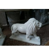White Marble Standing Lion Statue