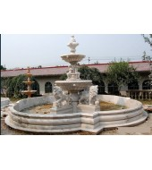 White Marble Carved Lion Statue Big Fountain For Outdoor