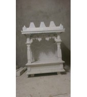 Antique Design White Polished Marble Mandir