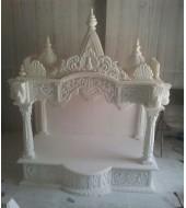 Antique Carved White Marble Mandir