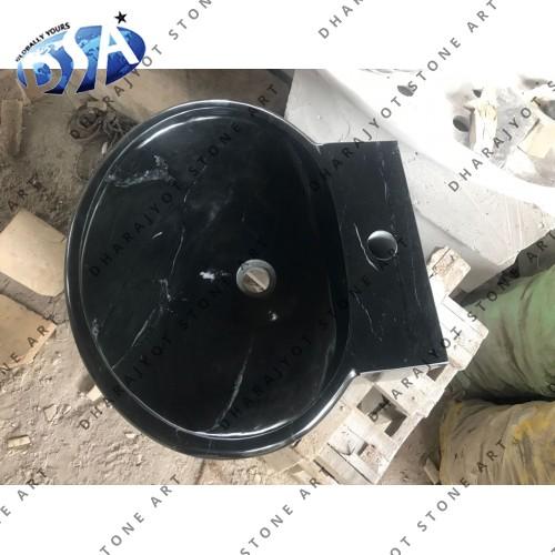 Black Marble Round Polished Washbasin