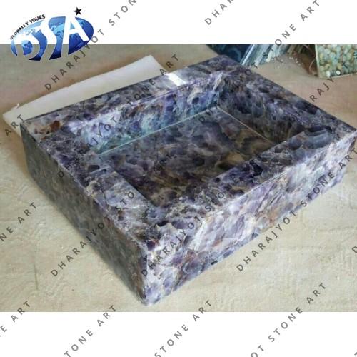 Amethyst Chips Quartz Washbasin