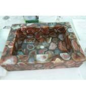 D Brown Agate Quartz Washbasin