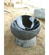 Black Granite Polished Boulder Washbasin Sink