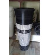 Black Marble Polished Design Round Standing Washbasin Sink