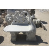Marble Peacock Statue Curved Bench
