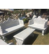 White Marble Bench With Mesh Back