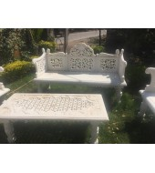 White Marble Decorative Bench With Mesh Back