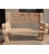 Pink Marble Carved Decorative Bench