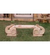 Granite Garden Elephant Sculpture Leg Bench
