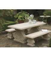 Hand Carved Leg Sandstone Garden Table And Bench