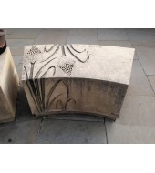 Light Brown Carved Stone Garden Bench