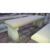 Light Yellow Carved Leg Outdoor Garden Bench
