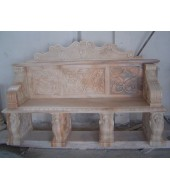 Marble Carved Backed Animal Leg Garden Benches