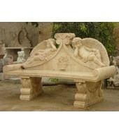 Marble Carved Backed Sculpture Bench