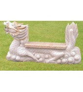 Marble Dragon Statue Curved Bench