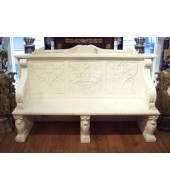 Marble Garden Bench With Carved Backed