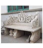 White Marble Carved Backed Handrest Bench