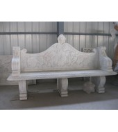 White Marble Hand Carved Outdoor Garden Bench