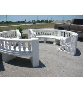 White Marble Round Big Bench With Backrest Lion Sculpture Leg And Handrest