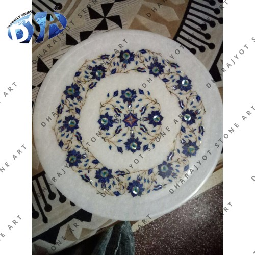 Blue Inlay Polished Round Plate