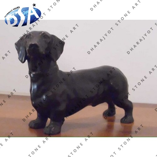 Black Marble Dog Statue