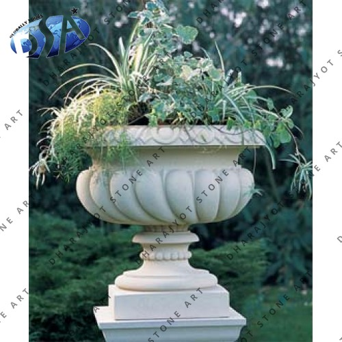 Carved Marble Pot And Planter