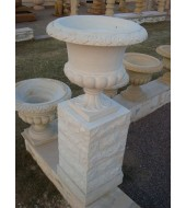 Carved Sandstone Plant Stand