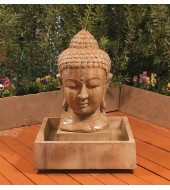 Small Buddha Head Carved Water Feature