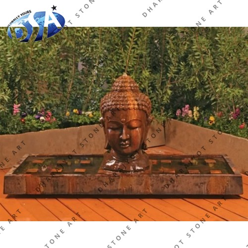 Buddha Head Carved Interior Patio Fountains