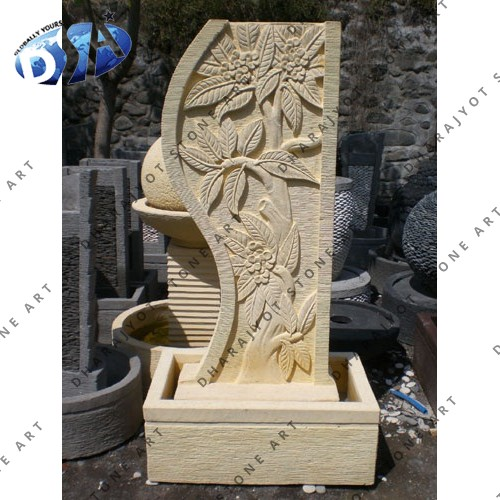 Carved Leaf Design Slate Water Fountain