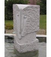 Natural Stone Antique Face Carved Water Fountain