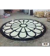 Black And White Marble Round Inlay Flooring