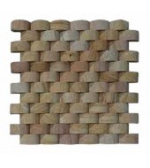 Brown Rounded Tiles Of Natural Stones Mosaic