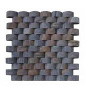 Grey And Black Rounded Tiles Of Natural Stones Mosaic