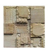 Raggedly Carved Squares And Rectangles Of Natural Stone Mosaic