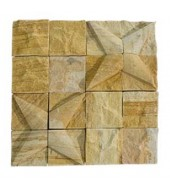 Yellow Striking Natural Stone Texture Mosaic