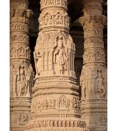 Carved Beautiful Solid Sandstone Pillar