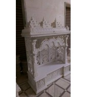 Antique Design Polished White Marble Mandir