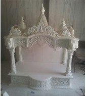 Antique Carved White Marble Mandir