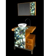 Natural Crystal Agate Counter Top White Washbasin